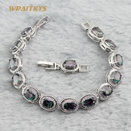Wholesale Silver Plated Women's Bracelets With Colors Rainbow Oval AAA Zircon Link Chain For Women Anniversary Length 18+2 cm Customizab