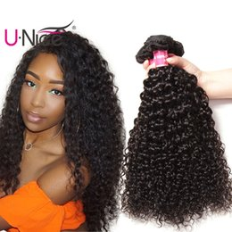 UNice Hair Brazilian Virgin Kinky Curly Weave Bundles Peruvian Human Hair Weave 8-26inch Raw Indian Human Hair Extensions Malaysian Wefts