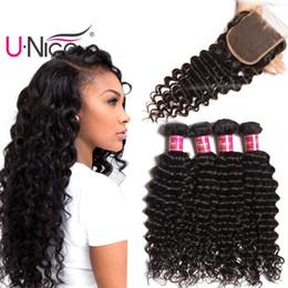 UNice Hair Virgin Brazilian Deep Wave Bundles With Closure Free Part Human Hair Extensions Deep Curl Weaves Bundles With Lace Closure Bulk
