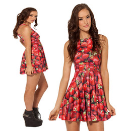 2018 Hot Starry Red Strawberry Digital Print Dress Vest Skirt Digital Print Dress Pleated Skirt for Women Dress Mujer Vestidos One-piece