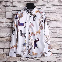 2018Autumn and winter Harajuku Medusa chain dog rose print shirt retro vintage flower polo shirt men's long-sleeved shirt