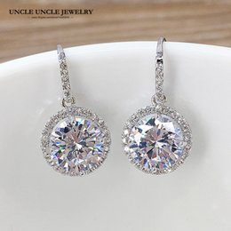 Luxury White Gold Color Hearts & Arrows Perfect Cut Zirconia Crystal Classic Woman Hook Earrings Drop Shipping Christmas Gifts