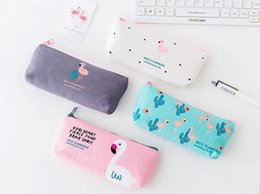 Kawaii Cute Korean Flamingo Canvas Pencil Case Storage Organizer Pen Bags Pouch Pencil Bag Pencilcase School Supply Stationery free ship