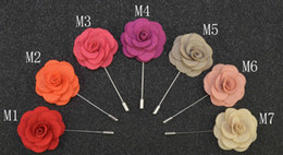 Pins Brooches Handmade Beaded Flower Felt Flower Lapel Pin Boutonniere 14 Colors Stick Pin Garment accessories pin Free Shipping