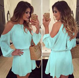 New Chiffon shoulder shoulder harness long sleeved casual dress