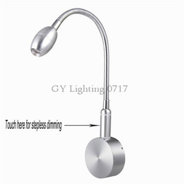 AC110v 120v 220v 240V 2016 New Design stepless dimming LED lamp Modern touch dimmable bed side wall lights silver chrome hose aluminum wall