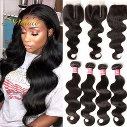 Nadula Raw Indian Hair 4 Bundles with Closure Body Wave Hair Weave Closure and Bundles Human Virgin Hair Extensions with Lace Closure Cheap