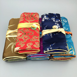 Portable Jade Button Silk brocade Jewelry Travel Roll Bag Chinese Cosmetic Pouch Bag Drawstring Women Makeup Storage Bag 10pcs lot