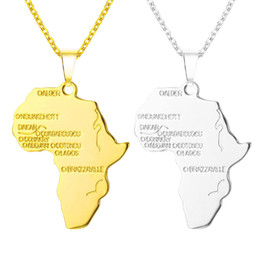 Foreign Trade Hot Copper Gilded Africa Map Hip-hop Hip Hop Necklace Item Jewelry
