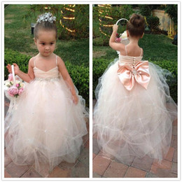 Real Image Champagne Kids Girl's Pageant Dresses Big Bow Beads Spaghetti Straps Fashion Wedding Little Princess Ball Gown Flower Girl Dress