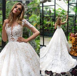 Dubai Vintage Full Lace Wedding Dresses Illuison Long Sleeves Bridal Gowns Sheer Bodice Court Train Arabic Wedding Gowns