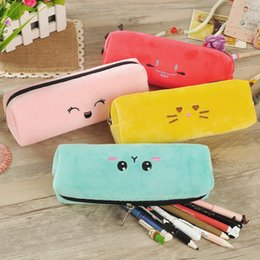 Creative cute candy color pencil case cartoon expression stationery student learning stationery flannel storage box Fluff pencil bag
