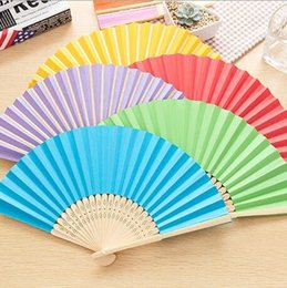 Mix color wedding bamboo hand fans wedding gifts paper fans favors folding fans 011