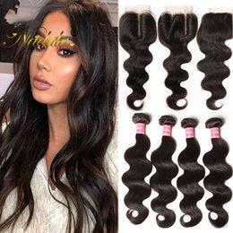 Nadula Malaysian Body Wave Human Hair Bundles With Closure Virgin Human Hair Weave Closure and Bundles Virgin Hair Bundle Lace Closure Cheap