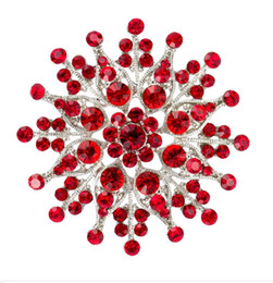 2.4 Inch Rhodium Silver Plated Red Rhinestone Crystal Diamante Large Brooch Pin Gifts Bouquet Decor