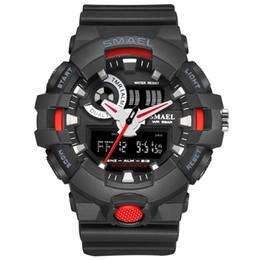 2017 New Sport Watch Smael Brand Wristwatches Fashion Casual Dual Time LED Clock Quartz 50Meters Waterproof Black Hot Clock 1642