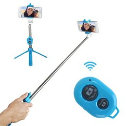 3 in 1 Handheld Extendable Selfie Stick Tripods Bluetooth Timer Selfie Monopods Extendable Self Portrait Stick Remote For iphone Smartphone