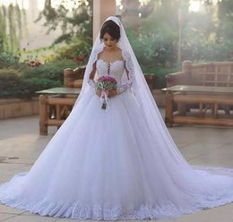 Lace Appliques Long Sleeves African Ball Gown Wedding Dresses 2019 Illusion Neck A Line Bridal Gowns Plus Size Chapel Train Robe de mariee