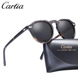 New Brand Unisex Retro Oval Sunglasses for men polarized frame fashion high quality Acetate Women Sunglasses CARFIA 5266 50mm with box