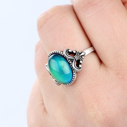High Quality Womens Real Antique Silver Plated Mood Stone Ring Fancy Color Change Ring for Sale