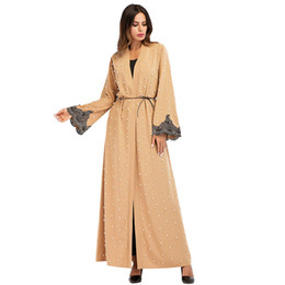187060# Muslim Women Bubble Beads Cardigan Long Sleeved Long Outer Dresses Mujer Vestidos Musulman Faldas Abaya Gowns