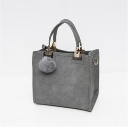 Women Brand Top-Handle Bags Leather fashion Handbags Large Solid Shopping Tote With Tassel Fur Ball Shoulder Bag Messenger Bags