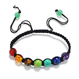 7 Colorful Natural Stone Beads Crystal Chakra Bracelet For Women Braided Rope Bracelets Reiki Spiritual Yoga