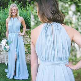 2019 New Cheap Light Sky Blue Bridesmaid Dresses A Line Jewel Neck Chiffon Flow Split Long Maid of Honor Gowns
