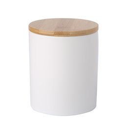330ml Matt White Airtight Ceramic Canister Candle Or Tea Storage Jar With Bamboo Lid