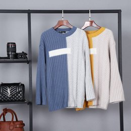 autumn and winter new ladies cashmere sweater round neck sets of loose models around the collision color stitching design double