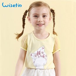 Wisefin Girls Tops Kids T Shirt Summer Comfy Yellow Cartoon Cute Cat Sleeve T Shirts Teenage Fashion Baby Tops Clothing