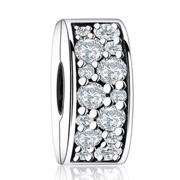New Shining Elegance Clip Charm Bead Fits Brand Bracelets Authentic 925 Sterling Silver Pave Clear Crystal Stopper Beads DIY Pandora Jewelry