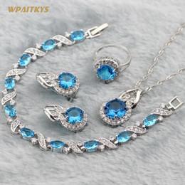 Light Blue Women Wedding Jewelry Sets - Wholesale Round AAA Zircon Silver Plated Pendant Necklace Earrings Ring Bracelet For Women Size 6-10