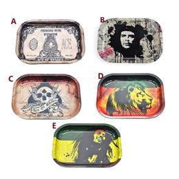 Bob Marley Rolling Tray Metal Herbal Rolling Tray Travel Size 18cm*14cm*1.5cm Handroller Herb Roll Trays Machine Tools