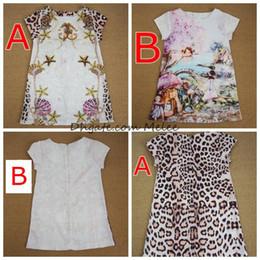 INS Summer Girls Floral Print leopard Dresses Baby Girls cotton carttoon dress Wedding Dresses Design Kids princess Dress 2-6years free ship