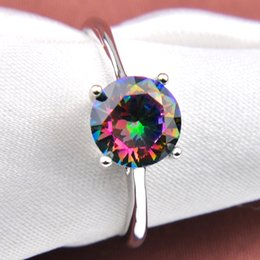 10 Pcs Vintage 925 Sterling Silver Round Natural Rainbow Mystic Topaz Gems Jewelry Austrian Crystal Wedding Ring for Lovers Ring