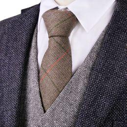 G81 Brown Camel Herringbone Tweed Checked 7cm Mens Ties Neckties Wool Free Shipping Wholesale Handmade Casual Business Formal