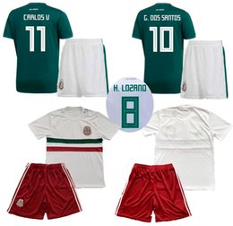 2018 Mexico Home Green Soccer Jerseys Pants Away White Thai Quality Soccer Sets 18 19CHICHARITO R.JIMENEZ H. LOZANO Football Kits Uniforms