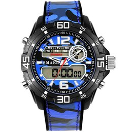 SMAEL Sports Watches for Man Alarm Waterproof Digital LED Fashion Casual Wristwatch 1077 Luxury Men Dual Display Clocks Silicone