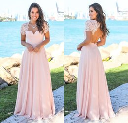 New Arrival 2019 Designer Peach Pink Long Bridesmaid Dresses Lace Cap Sleeves Chiffon Hollow Back Custom Made Wedding Guest Gowns BM0151