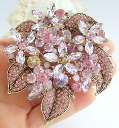 Elegant Flower Brooch Pin Pink Rhinestone Crystals Pendant Art Deco EE06029C4