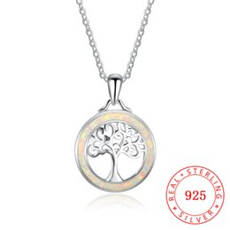 high quality 100% 925 sterling silver handmade white opal life of tree necklace beautiful woman jewelry China supplier wholesale NE101996