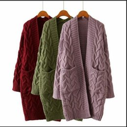 Autumn Winter Fashion Women Long Sleeve Loose Knitting Cardigan Sweater Womens Knitted Female Oversize With Pockets FS5796