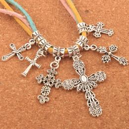 Assorted Cross Dangle Big Hole Beads 100pcs lot 6Styles Mixed Tibetan Silver Fit European European Charm Bracelet DIY