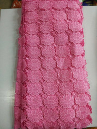 Hot sale pink african cord lace fabric with flower embroidery water soluble guipure lace for party dress E23-10