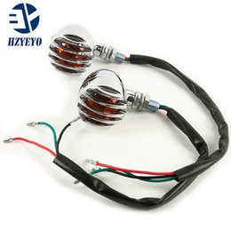 2pcs (left +right) Motorcycle Antiqued Front Rear Turn Signals Indicators Mini Bullet Blinkers Lights For Harley
