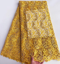 5 yards Yellow Champagne African Swiss Cord lace chemical guipure lace fabric french lace high quality