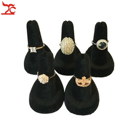 Free Shipping Fashion Wholesale Display Jewelry Ideas 5PCS Black Velvet Finder Jewellery Ring Holder Display Stand