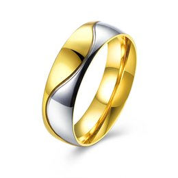 Gold color camber 316L titanium steel ring