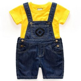 Wholesale Summer clothes cute breathable young yellow cowboy pants boys sets tee shirt Two pieces set for children's suit